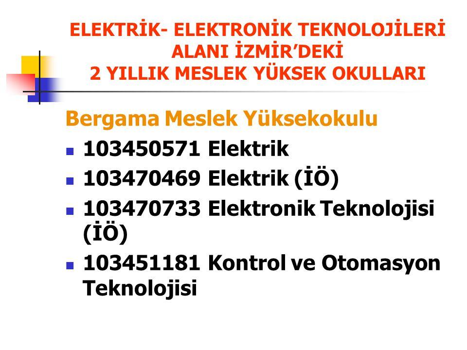 ELEKTRİK- ELEKTRONİK TEKNOLOJİLERİ ALANI İZMİR'DEKİ 2 YILLIK MESLEK YÜKSEK OKULLARI Bergama Meslek Yüksekokulu 103450571 Elektrik 103470469 Elektrik (