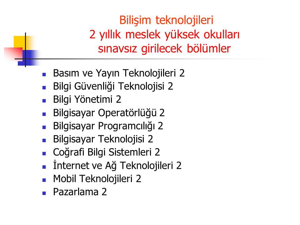 BİLİŞİM TEKNOLOJİLERİ ALANI İZMİR'DEKİ 2 YILLIK MESLEK YÜKSEK OKULLARI DOKUZ EYLÜL ÜNİVERSİTESİ (İZMİR) İzmir Meslek Yüksekokulu 103150335 Bilgisayar Programcılığı 103170436 Bilgisayar Programcılığı (İÖ) EGE ÜNİVERSİTESİ (İZMİR) Ege Meslek Yüksekokulu 103450456 Bilgisayar Programcılığı 103470381 Bilgisayar Programcılığı (İÖ) Bergama Meslek Yüksekokulu 103451269 Bilgisayar Programcılığı Tire Kutsan Meslek Yüksekokulu 103450792 Bilgisayar Programcılığı 103470796 Bilgisayar Programcılığı (İÖ