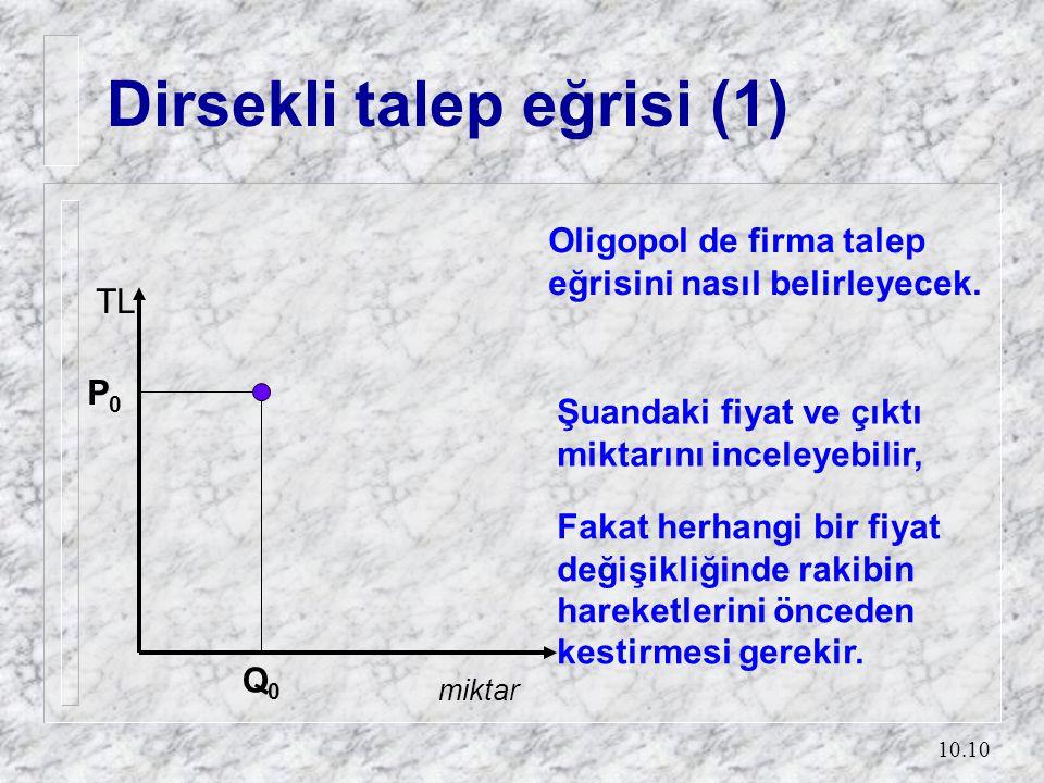 10.10 Dirsekli talep eğrisi (1) Q0Q0 P0P0 miktar TL Oligopol de firma talep eğrisini nasıl belirleyecek. Şuandaki fiyat ve çıktı miktarını inceleyebil