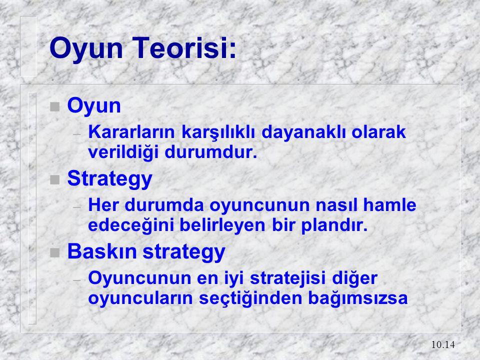 10.14 Oyun Teorisi: n Oyun – Kararların karşılıklı dayanaklı olarak verildiği durumdur. n Strategy – Her durumda oyuncunun nasıl hamle edeceğini belir