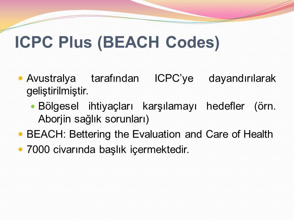ICPC Plus (BEACH Codes) Avustralya tarafından ICPC'ye dayandırılarak geliştirilmiştir. Bölgesel ihtiyaçları karşılamayı hedefler (örn. Aborjin sağlık