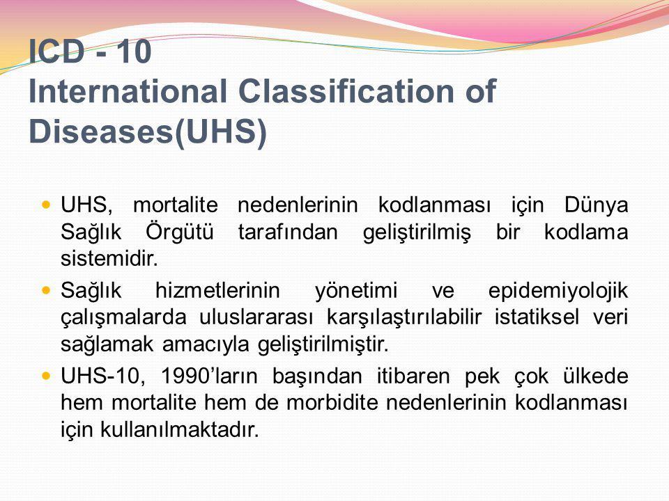 ICD - 10 International Classification of Diseases(UHS) UHS, mortalite nedenlerinin kodlanması için Dünya Sağlık Örgütü tarafından geliştirilmiş bir kodlama sistemidir.