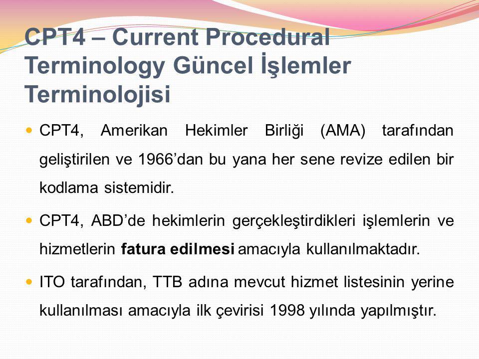 CPT4 – Current Procedural Terminology Güncel İşlemler Terminolojisi CPT4, Amerikan Hekimler Birliği (AMA) tarafından geliştirilen ve 1966'dan bu yana her sene revize edilen bir kodlama sistemidir.