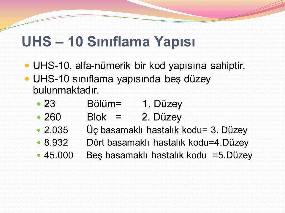 UHS – 10 Sınıflama Yapısı UHS-10, alfa-nümerik bir kod yapısına sahiptir. UHS-10 sınıflama yapısında beş düzey bulunmaktadır. 23 Bölüm= 1. Düzey 260 B