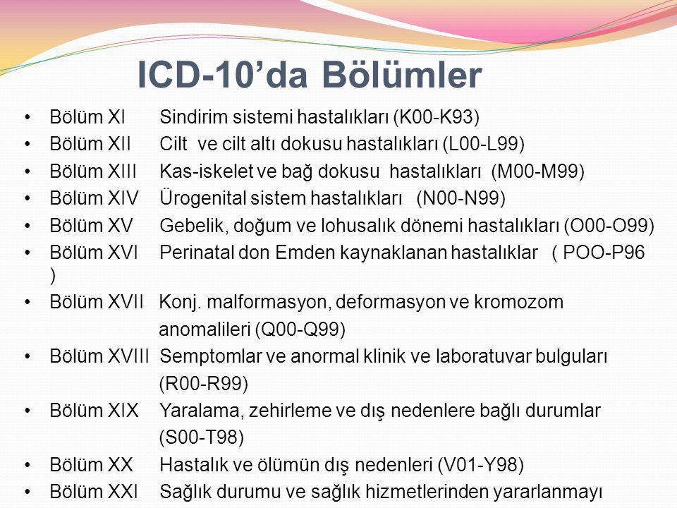 Bölüm XI Sindirim sistemi hastalıkları (K00-K93) Bölüm XII Cilt ve cilt altı dokusu hastalıkları (L00-L99) Bölüm XIII Kas-iskelet ve bağ dokusu hastalıkları (M00-M99) Bölüm XIV Ürogenital sistem hastalıkları (N00-N99) Bölüm XV Gebelik, doğum ve lohusalık dönemi hastalıkları (O00-O99) Bölüm XVI Perinatal don Emden kaynaklanan hastalıklar ( POO-P96 ) Bölüm XVII Konj.