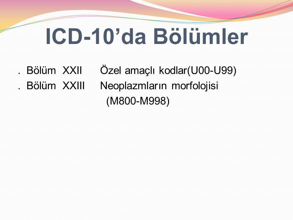 ICD-10'da Bölümler Vücut sistemleri, (Bölüm III, IV, V, VI, VII, VIII, IX, X, XI, XII,XIII ve XIV), Etyoloji (Bölüm I, II, XVII, XIX, XX,XXIII) Diğerleri (Bölüm XV, XVI, XVIII, XXI,XXI)