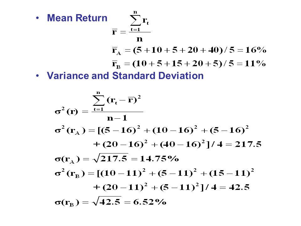 Mean Return Variance and Standard Deviation