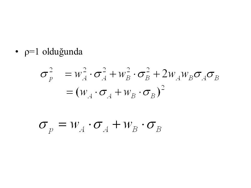 ρ=1 olduğunda