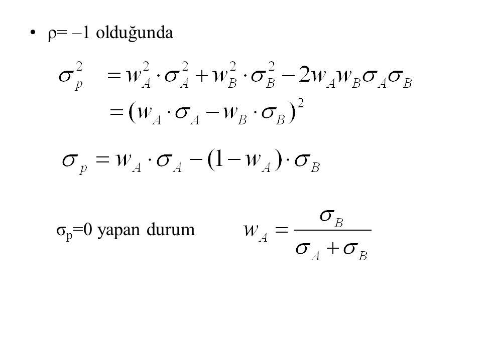 ρ= –1 olduğunda σ p =0 yapan durum