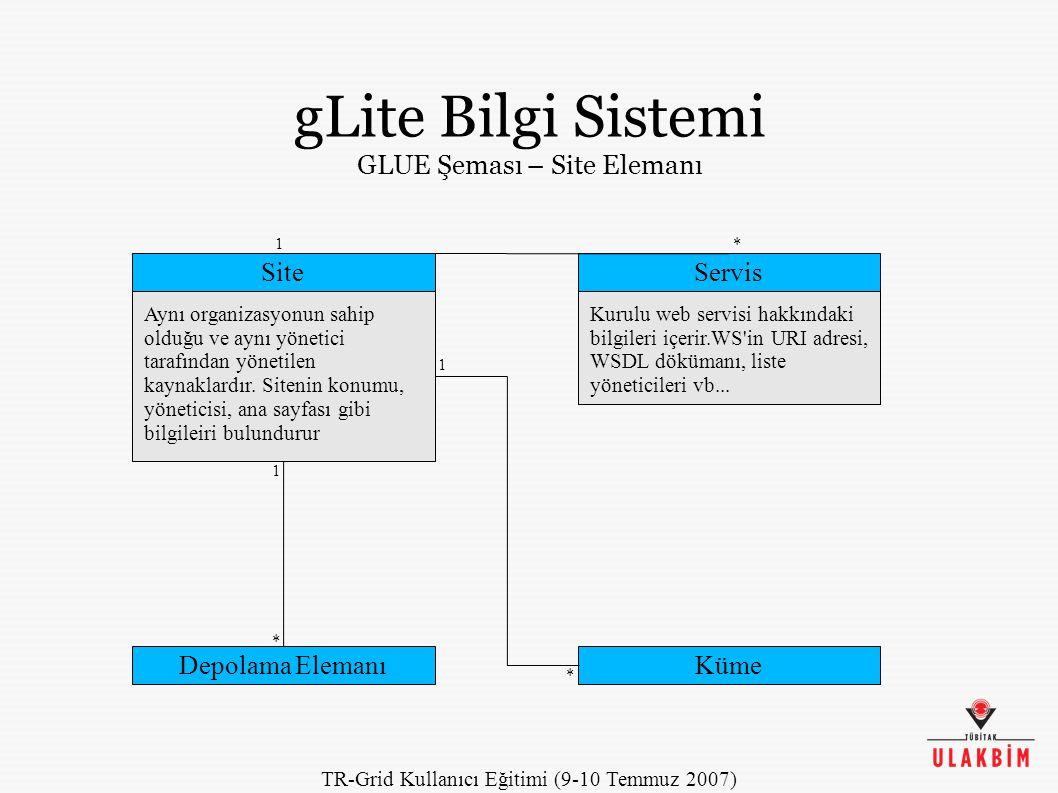 TR-Grid Kullanıcı Eğitimi (9-10 Temmuz 2007) gLite Bilgi Sistemi GLUE Şeması – Site Elemanı Site Aynı organizasyonun sahip olduğu ve aynı yönetici tarafından yönetilen kaynaklardır.