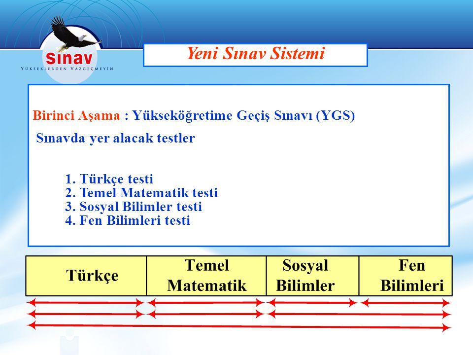 Birinci Aşama : Yükseköğretime Geçiş Sınavı (YGS) Sınavda yer alacak testler 1. Türkçe testi 2. Temel Matematik testi 3. Sosyal Bilimler testi 4. Fen