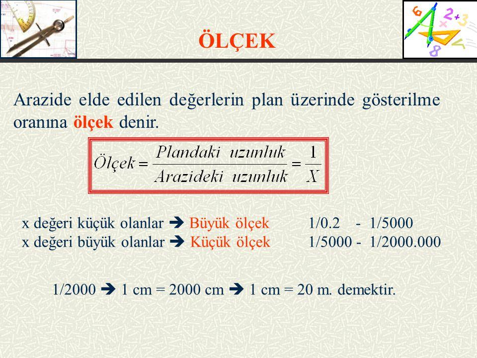 Arazide elde edilen değerlerin plan üzerinde gösterilme oranına ölçek denir. x değeri küçük olanlar  Büyük ölçek1/0.2 - 1/5000 x değeri büyük olanlar