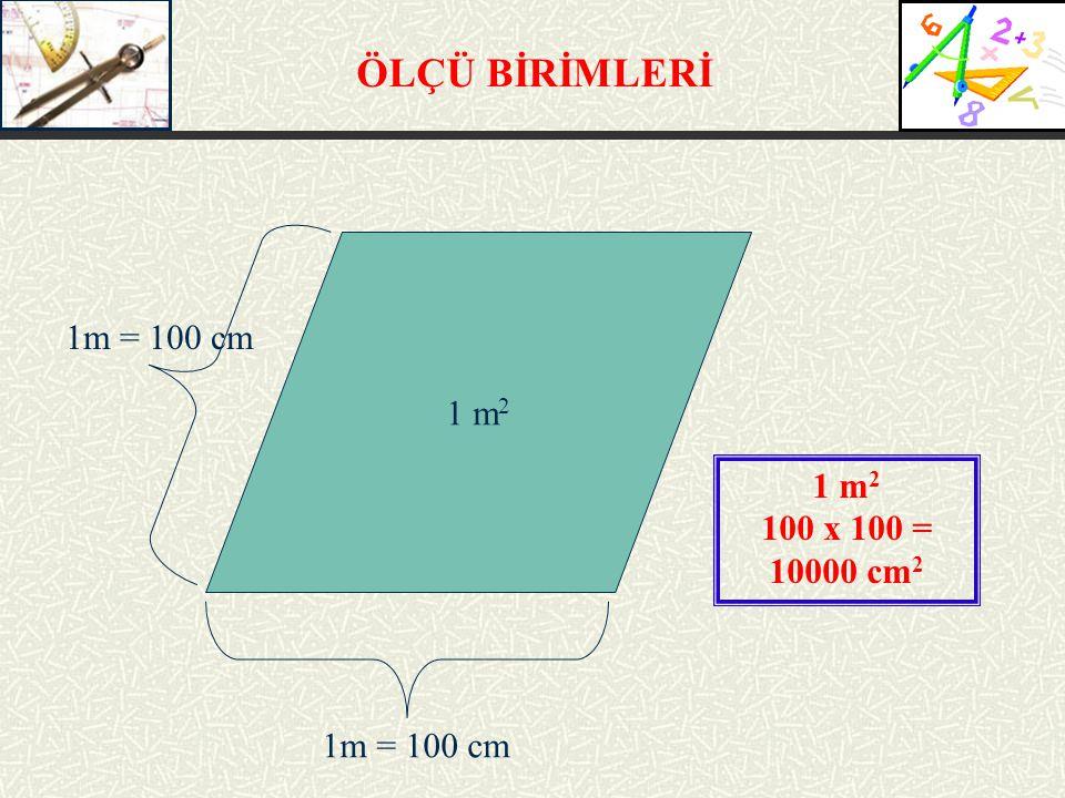 ÖLÇÜ BİRİMLERİ 1 m 2 1m = 100 cm 1 m 2 100 x 100 = 10000 cm 2