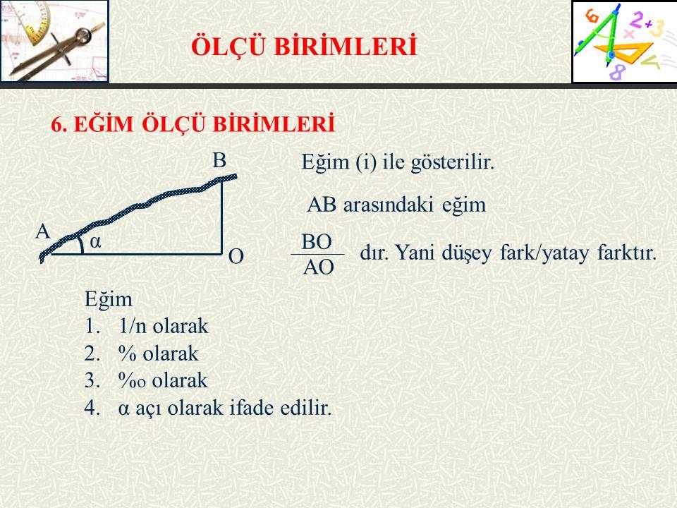 ÖLÇÜ BİRİMLERİ 6. EĞİM ÖLÇÜ BİRİMLERİ Eğim (i) ile gösterilir. BO AB arasındaki eğim AO dır. Yani düşey fark/yatay farktır. A B O α Eğim 1.1/n olarak