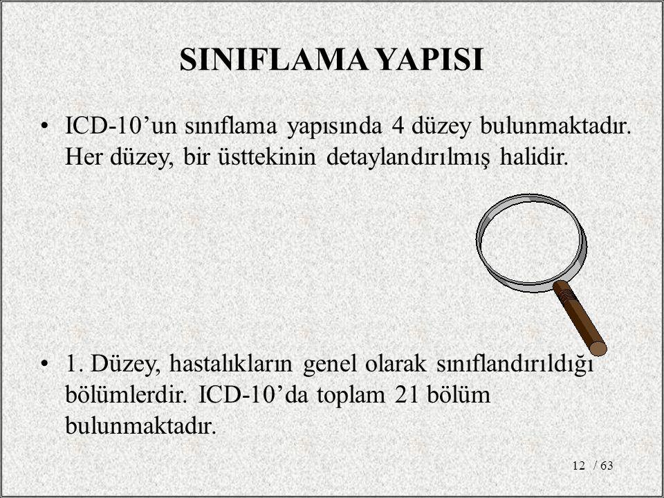 / 6312 SINIFLAMA YAPISI ICD-10'un sınıflama yapısında 4 düzey bulunmaktadır. Her düzey, bir üsttekinin detaylandırılmış halidir. 1. Düzey, hastalıklar