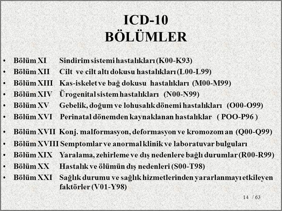 / 6314 Bölüm XI Sindirim sistemi hastalıkları (K00-K93) Bölüm XII Cilt ve cilt altı dokusu hastalıkları (L00-L99) Bölüm XIII Kas-iskelet ve bağ dokusu hastalıkları (M00-M99) Bölüm XIV Ürogenital sistem hastalıkları (N00-N99) Bölüm XV Gebelik, doğum ve lohusalık dönemi hastalıkları (O00-O99) Bölüm XVI Perinatal dönemden kaynaklanan hastalıklar ( POO-P96 ) Bölüm XVII Konj.