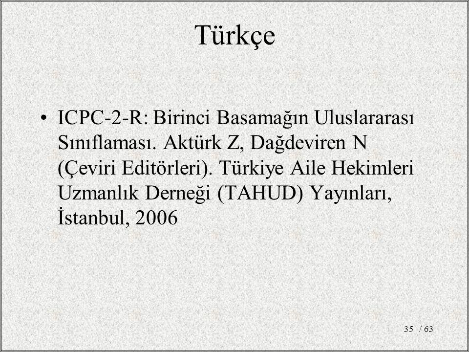/ 6335 Türkçe ICPC-2-R: Birinci Basamağın Uluslararası Sınıflaması. Aktürk Z, Dağdeviren N (Çeviri Editörleri). Türkiye Aile Hekimleri Uzmanlık Derneğ
