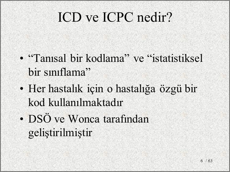 """/ 636 ICD ve ICPC nedir? """"Tanısal bir kodlama"""" ve """"istatistiksel bir sınıflama"""" Her hastalık için o hastalığa özgü bir kod kullanılmaktadır DSÖ ve Won"""