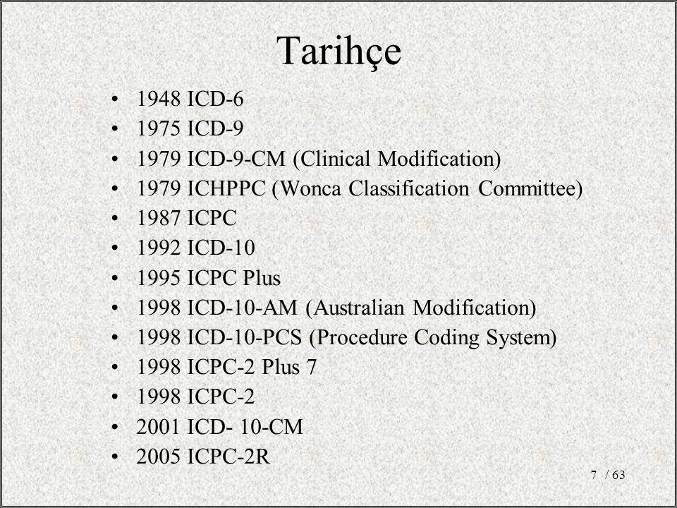/ 638 Sınıflandırmanın avantajları Hatırlayalım: Hastalığı objektif ölçütlere göre sınıflandırırsak: –Tedavi vermede kolaylık –Prognozu tahmin etmede kolaylık –İç organların durumu hakkında bilgi –Hekimler arası iletişim McWhinney 1989