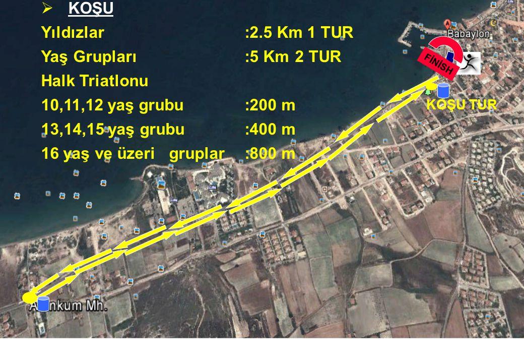 10 BİSİKLET TUR  Bisiklet Yıldızlar:10 Km4TUR Yaş Grupları :20 Km 8 TUR Halk Triatlonu 10,11,12 yaş grubu:1 Km 13,14,15 yaş grubu:2.5 Km 1Tur 16 yaş ve üzerigruplar:5 Km 2Tur