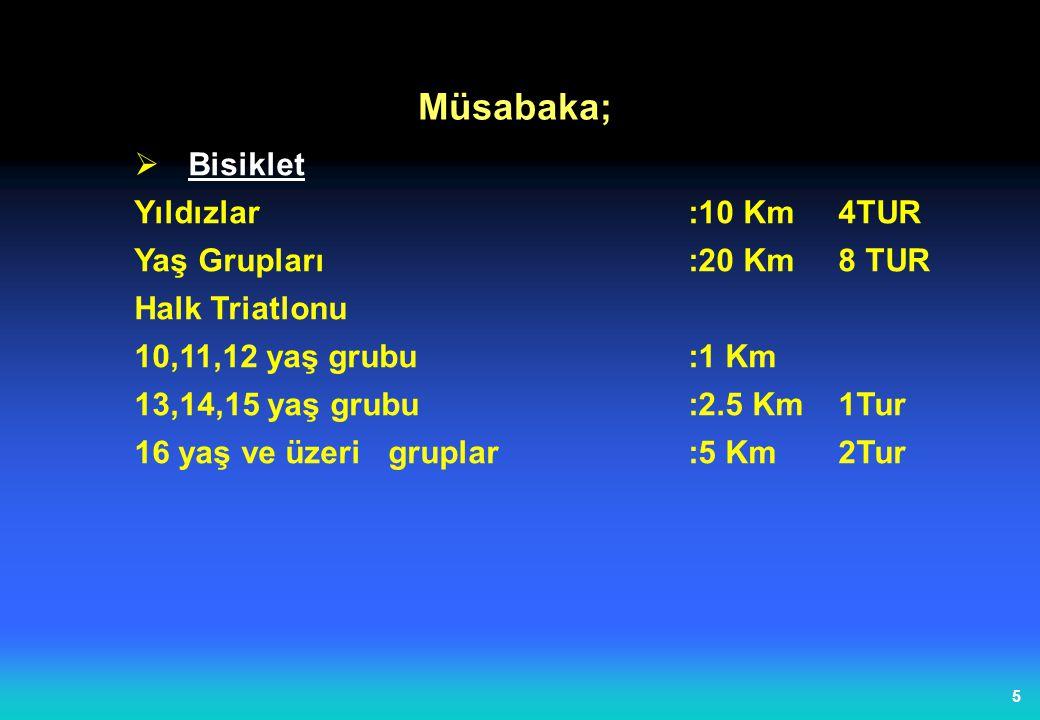 4  Yüzme Yıldızlar:375 m 1 TUR Yaş Grupları :750 m 1 TUR Halk Triatlonu 10,11,12 yaş grubu:50 m 13,14,15 yaş grubu:100 m 16 yaş ve üzerigruplar:200 m Müsabaka;
