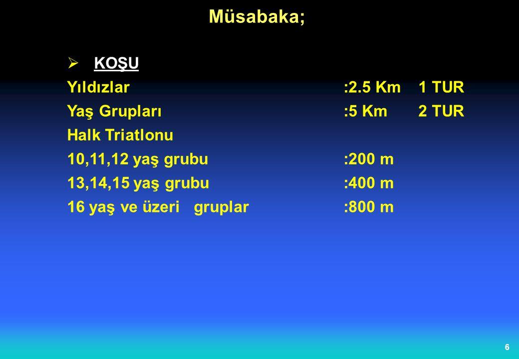 5  Bisiklet Yıldızlar:10 Km4TUR Yaş Grupları :20 Km 8 TUR Halk Triatlonu 10,11,12 yaş grubu:1 Km 13,14,15 yaş grubu:2.5 Km1Tur 16 yaş ve üzerigruplar:5 Km2Tur Müsabaka;