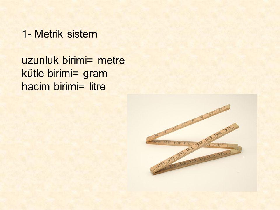 2- SI sistem Uzunluk = metre (m) Kütle= kilogram (kg) Konsantrasyon= mol (mol) Zaman= saniye (s) Elektrik akımı= amper (A) Isı= kelvin (K) Işık yoğunluğu= kandela (cd) Katalitik miktar= katal (kat)