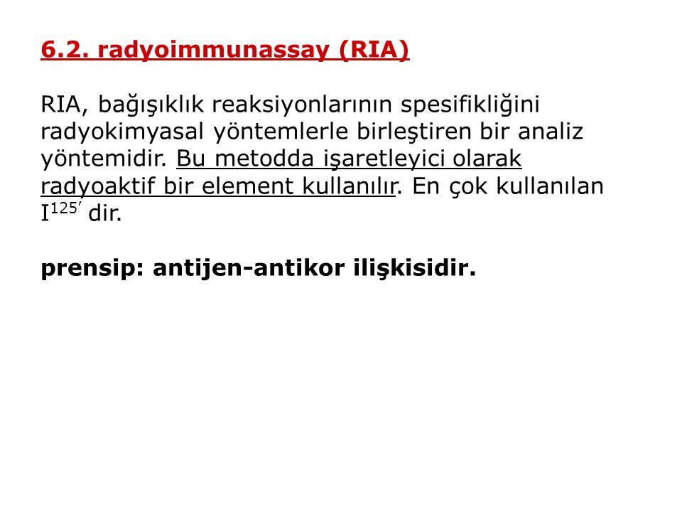6.2. radyoimmunassay (RIA) RIA, bağışıklık reaksiyonlarının spesifikliğini radyokimyasal yöntemlerle birleştiren bir analiz yöntemidir. Bu metodda işa