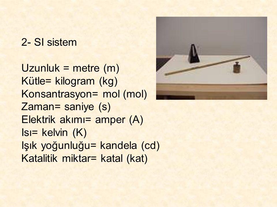 2- SI sistem Uzunluk = metre (m) Kütle= kilogram (kg) Konsantrasyon= mol (mol) Zaman= saniye (s) Elektrik akımı= amper (A) Isı= kelvin (K) Işık yoğunl
