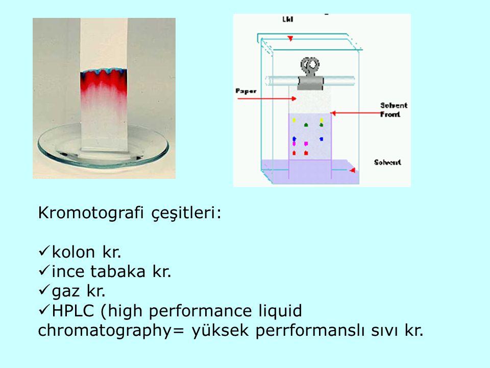 Kromotografi çeşitleri: kolon kr. ince tabaka kr. gaz kr. HPLC (high performance liquid chromatography= yüksek perrformanslı sıvı kr.