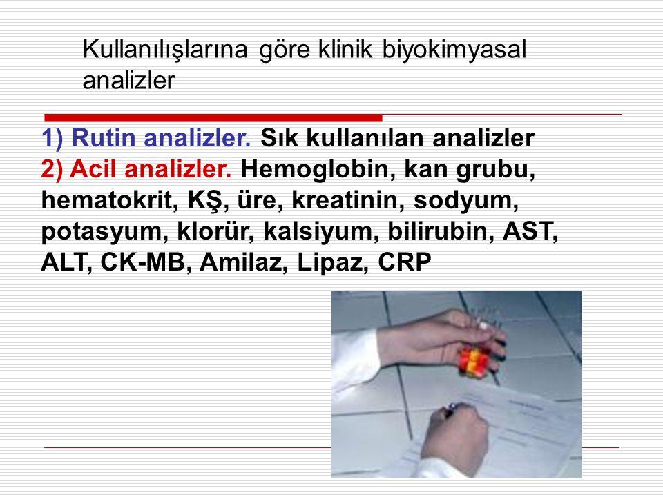 Kullanılışlarına göre klinik biyokimyasal analizler 1) Rutin analizler. Sık kullanılan analizler 2) Acil analizler. Hemoglobin, kan grubu, hematokrit,
