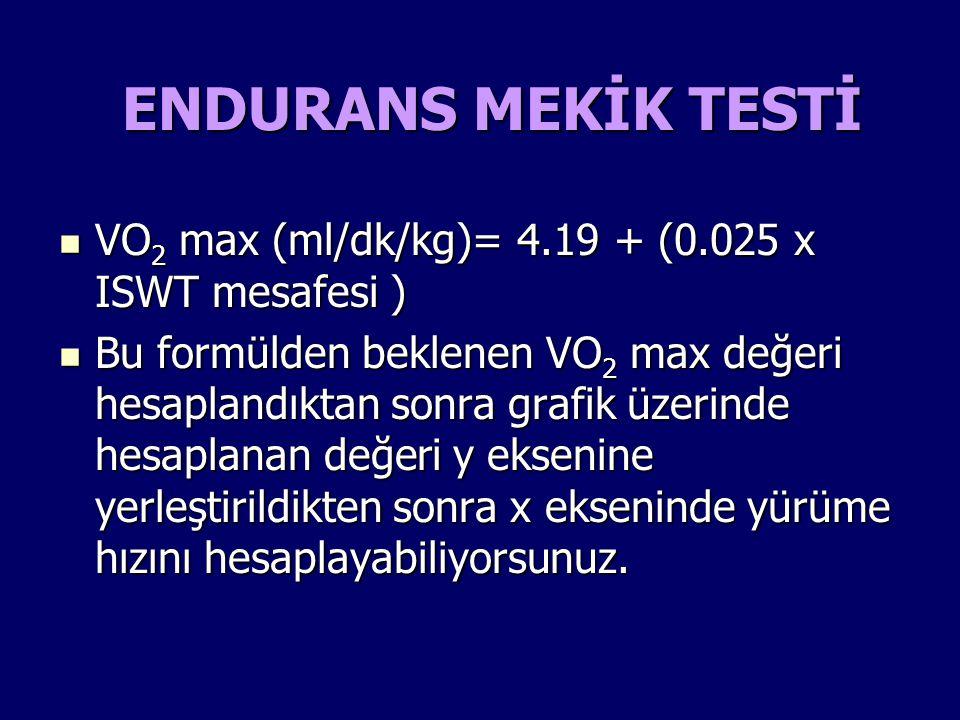 VO 2 max (ml/dk/kg)= 4.19 + (0.025 x ISWT mesafesi ) VO 2 max (ml/dk/kg)= 4.19 + (0.025 x ISWT mesafesi ) Bu formülden beklenen VO 2 max değeri hesapl