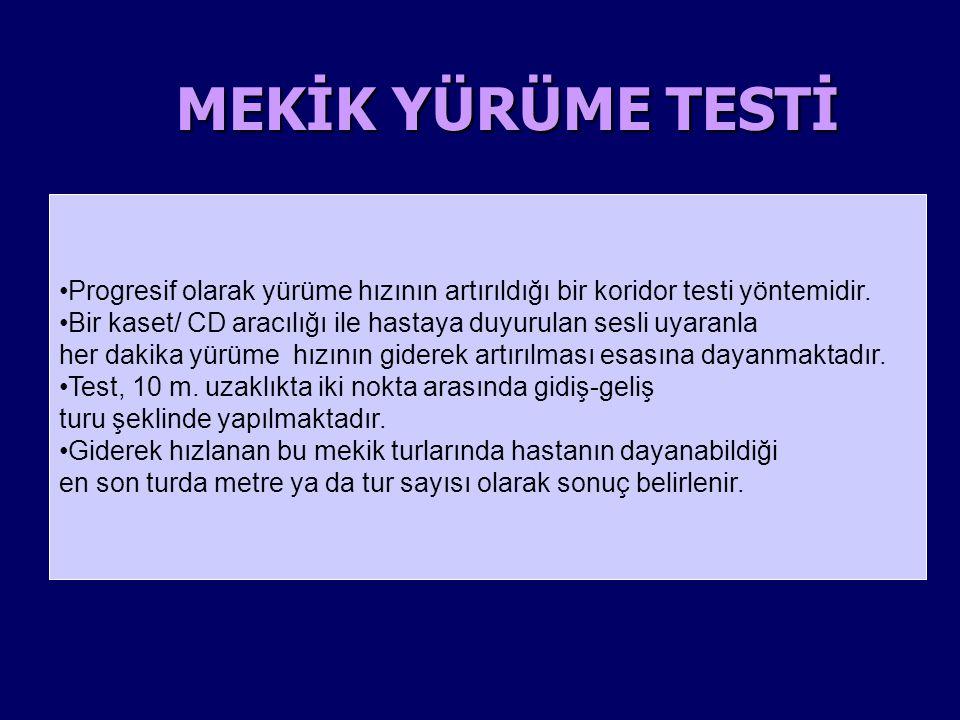 ENDURANS MEKİK TESTİ Giderek artan mekik testinden sonra ikinci aşama Giderek artan mekik testinden sonra ikinci aşama Hastanın maksimum kapasitesindeki (%85) 'enduransını' tahmin etmek için yapılan süre bazlı bir test.