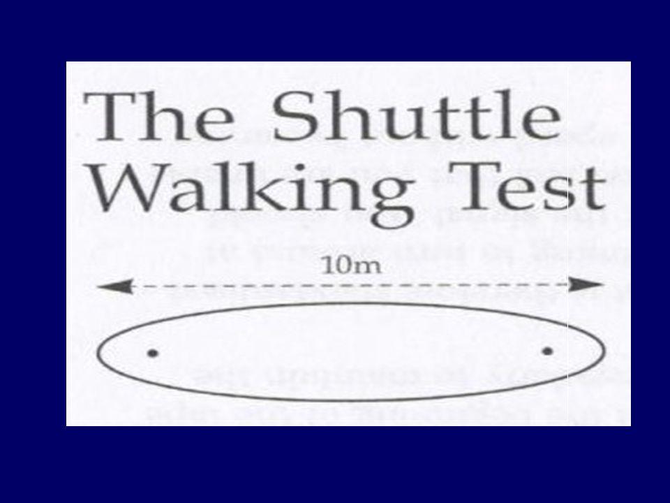 HAZIRLIK VE UYGULAMA Kalibrasyon periyodu (1 dk'yı kontrol et) Kalibrasyon periyodu (1 dk'yı kontrol et) Sinyali duyduğu andan itibaren nefes darlığı hissetmeden, istenen hıza ulaşıncaya kadar yürümeye başlaması hastaya söyleniyor Sinyali duyduğu andan itibaren nefes darlığı hissetmeden, istenen hıza ulaşıncaya kadar yürümeye başlaması hastaya söyleniyor 'Üç bip' ile teste başlanıyor, belli aralıklarda gelen 'tek bip' lerde hasta 'shuttle' tamamlamış 'Üç bip' ile teste başlanıyor, belli aralıklarda gelen 'tek bip' lerde hasta 'shuttle' tamamlamış Her bir dakikada 'üç bip' ile hız artırılıyor Her bir dakikada 'üç bip' ile hız artırılıyor 12 seviye var (1 dk) = Belli sayıda shuttle (10m) içeriyor 12 seviye var (1 dk) = Belli sayıda shuttle (10m) içeriyor
