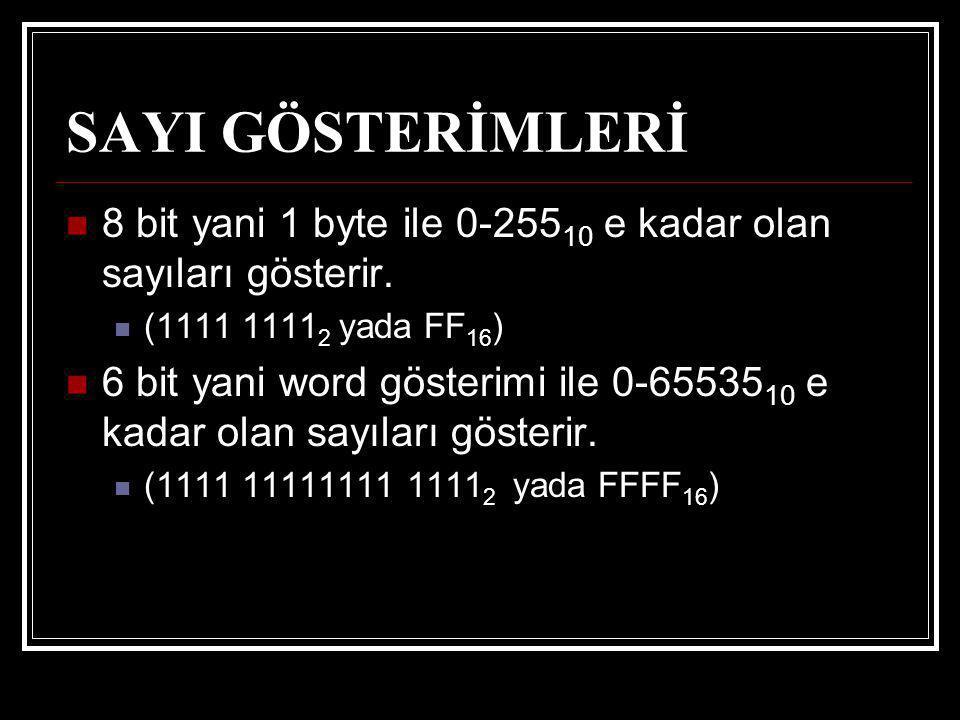 SAYI GÖSTERİMLERİ 8 bit yani 1 byte ile 0-255 10 e kadar olan sayıları gösterir. (1111 1111 2 yada FF 16 ) 6 bit yani word gösterimi ile 0-65535 10 e