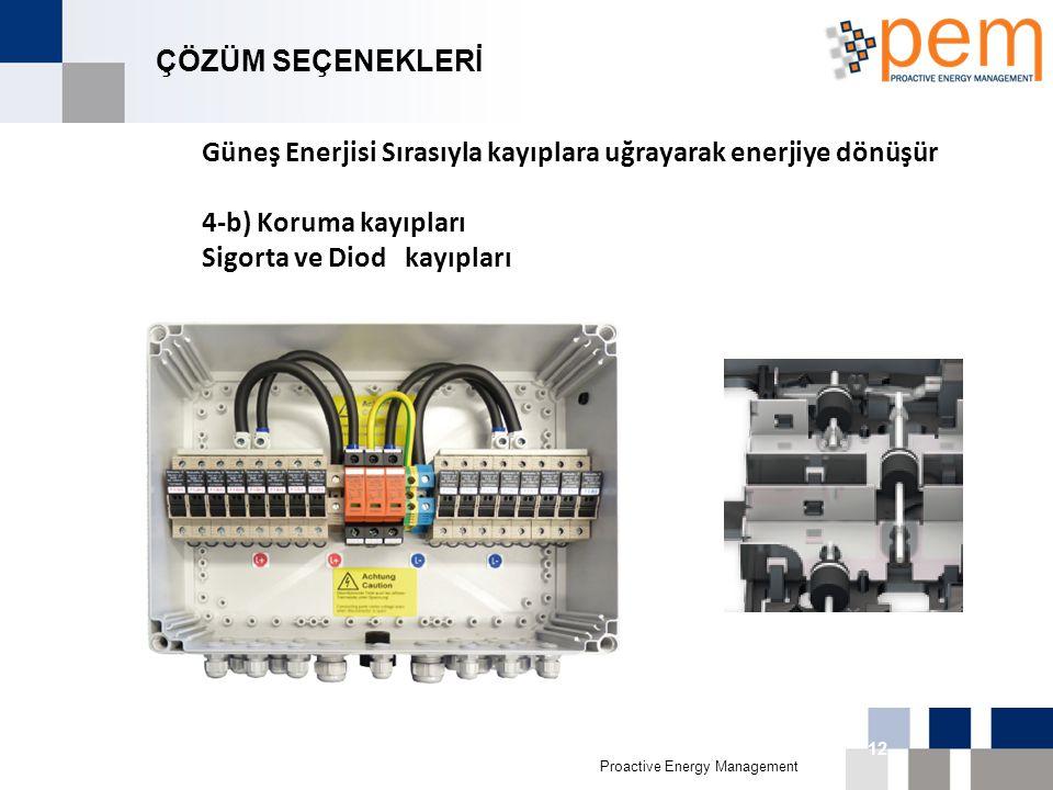 Proactive Energy Management 16th Biggest Economy in 011 12 ÇÖZÜM SEÇENEKLERİ Güneş Enerjisi Sırasıyla kayıplara uğrayarak enerjiye dönüşür 4-b) Koruma