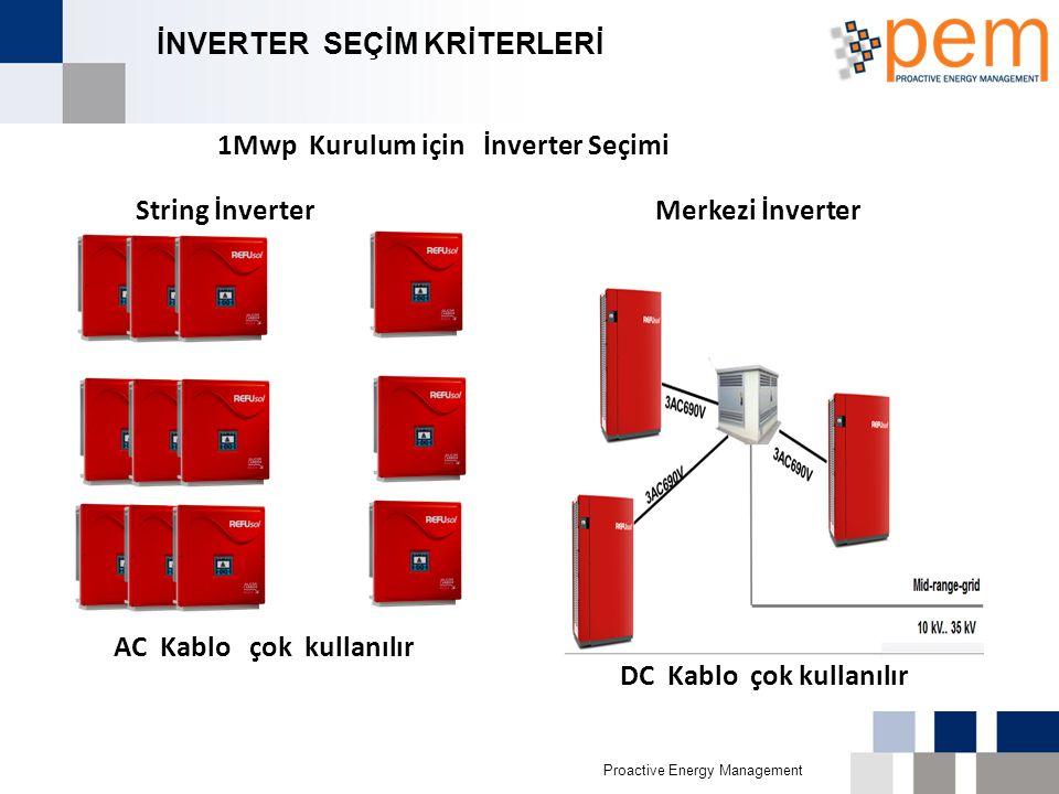 Proactive Energy Management İNVERTER SEÇİM KRİTERLERİ String İnverter Merkezi İnverter AC Kablo çok kullanılır 1Mwp Kurulum için İnverter Seçimi DC Ka