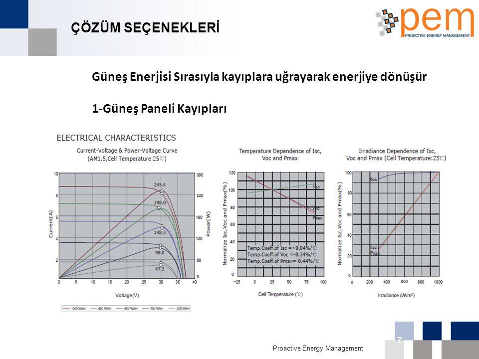 Proactive Energy Management 16th Biggest Economy in 011 7 ÇÖZÜM SEÇENEKLERİ Güneş Enerjisi Sırasıyla kayıplara uğrayarak enerjiye dönüşür 1-Güneş Pane