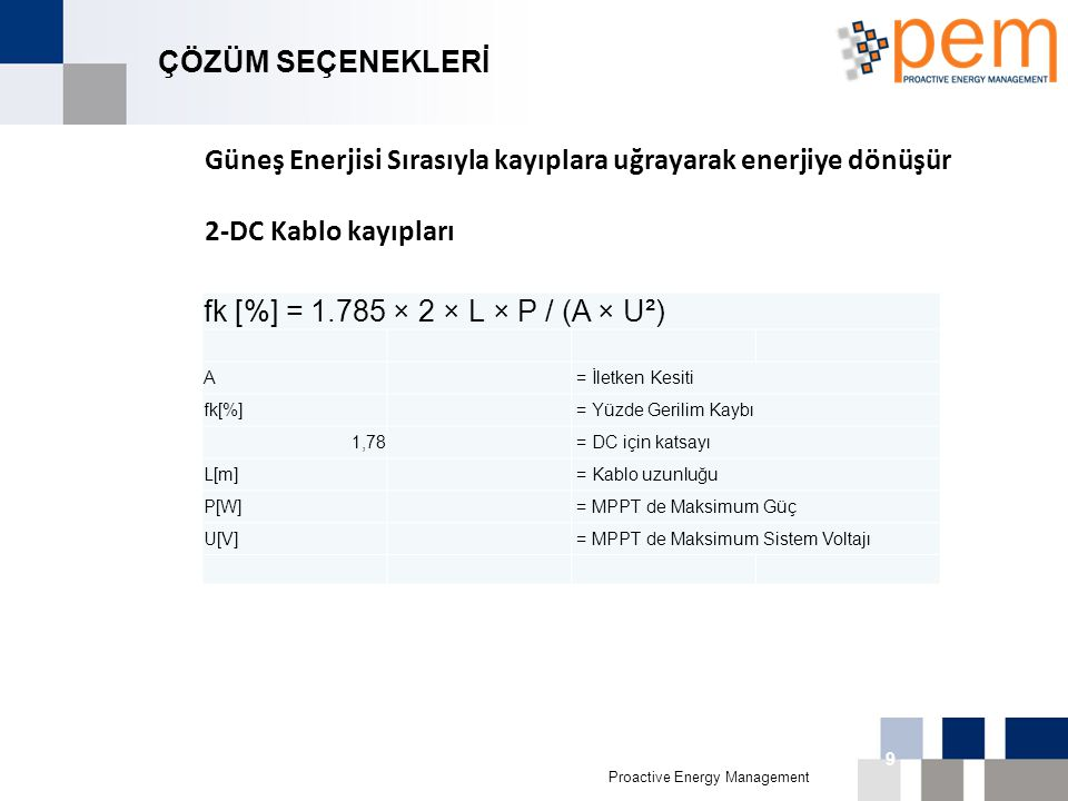Proactive Energy Management 16th Biggest Economy in 011 9 ÇÖZÜM SEÇENEKLERİ Güneş Enerjisi Sırasıyla kayıplara uğrayarak enerjiye dönüşür 2-DC Kablo k