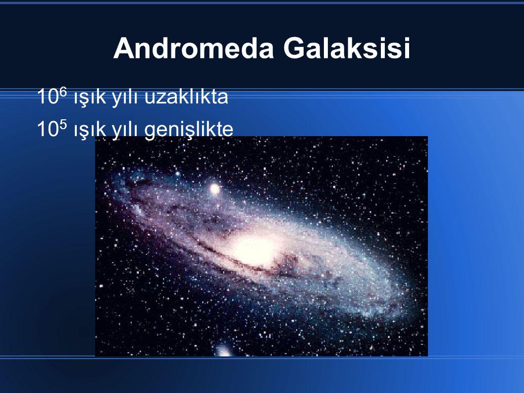 Andromeda Galaksisi 10 6 ışık yılı uzaklıkta 10 5 ışık yılı genişlikte