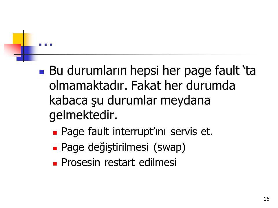 16... Bu durumların hepsi her page fault 'ta olmamaktadır. Fakat her durumda kabaca şu durumlar meydana gelmektedir. Page fault interrupt'ını servis e
