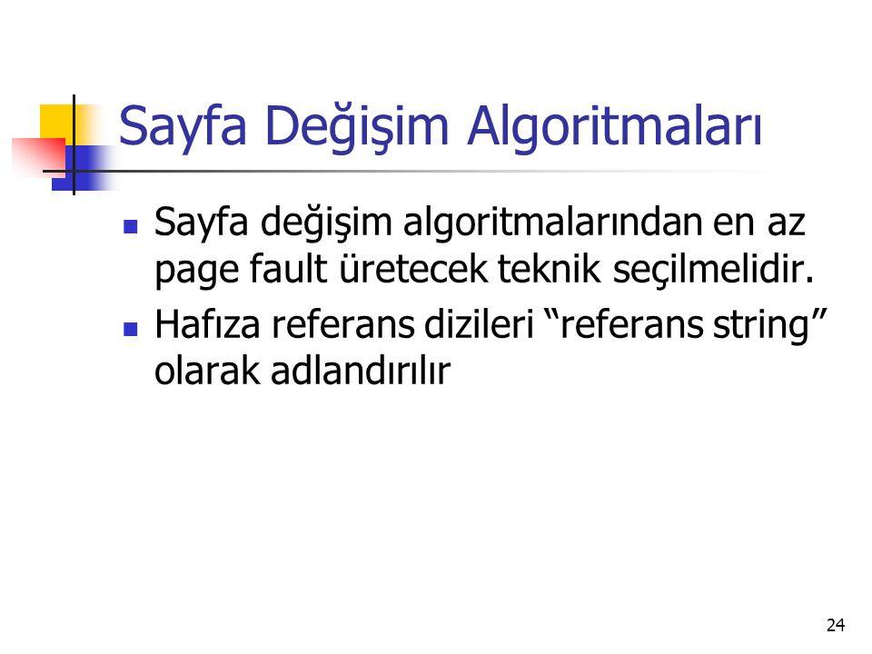 """24 Sayfa Değişim Algoritmaları Sayfa değişim algoritmalarından en az page fault üretecek teknik seçilmelidir. Hafıza referans dizileri """"referans strin"""