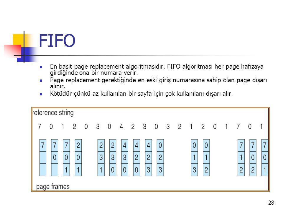 28 FIFO En basit page replacement algoritmasıdır. FIFO algoritması her page hafızaya girdiğinde ona bir numara verir. Page replacement gerektiğinde en