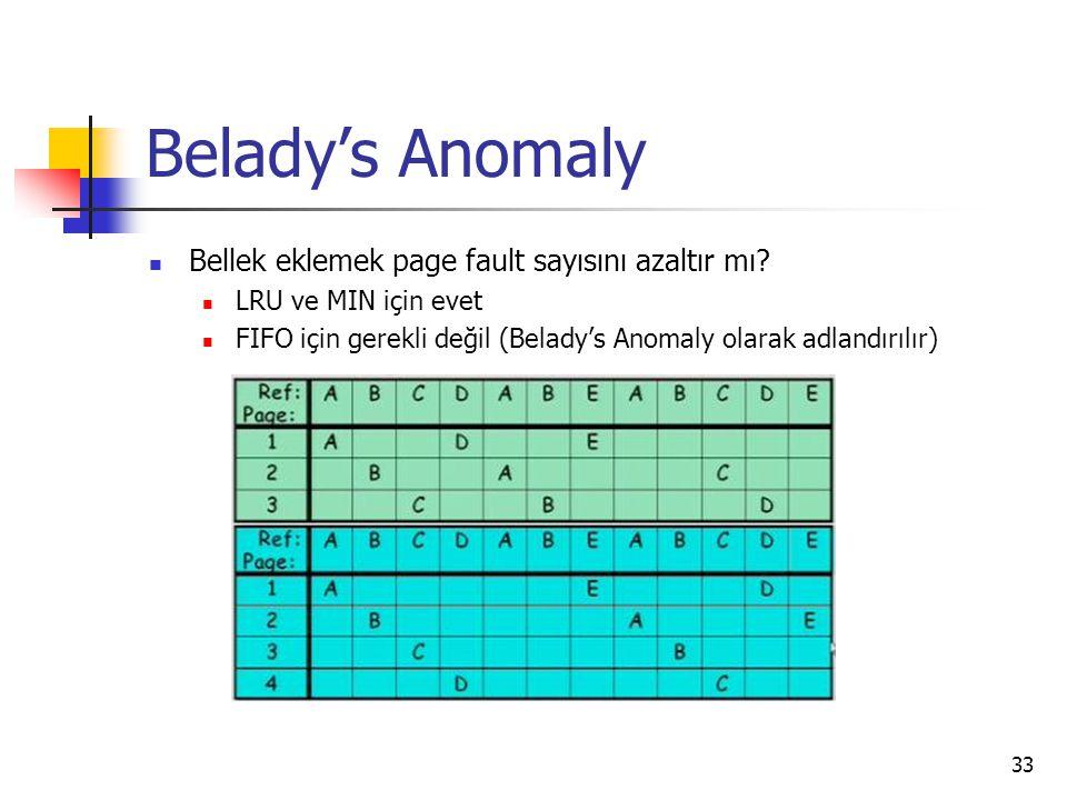33 Belady's Anomaly Bellek eklemek page fault sayısını azaltır mı? LRU ve MIN için evet FIFO için gerekli değil (Belady's Anomaly olarak adlandırılır)