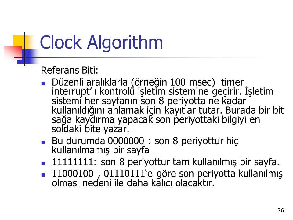 36 Clock Algorithm Referans Biti: Düzenli aralıklarla (örneğin 100 msec) timer interrupt' ı kontrolü işletim sistemine geçirir. İşletim sistemi her sa