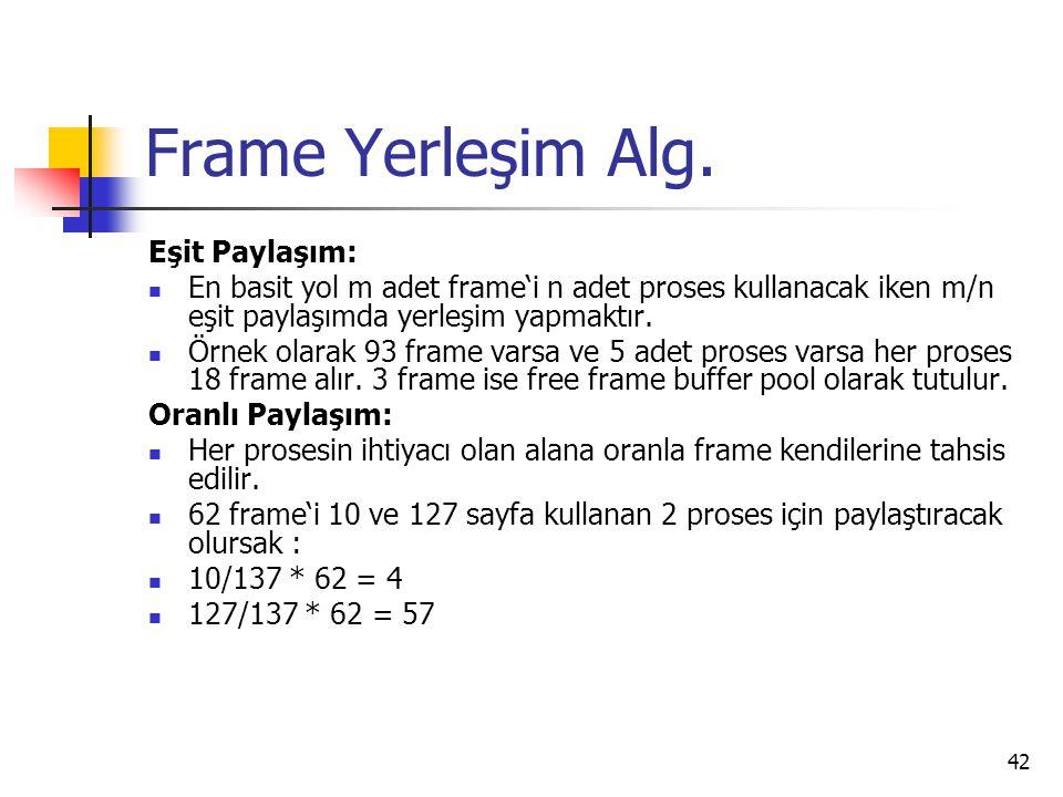 42 Frame Yerleşim Alg. Eşit Paylaşım: En basit yol m adet frame'i n adet proses kullanacak iken m/n eşit paylaşımda yerleşim yapmaktır. Örnek olarak 9