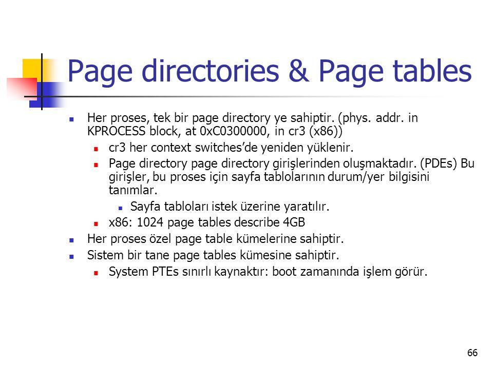 66 Page directories & Page tables Her proses, tek bir page directory ye sahiptir.