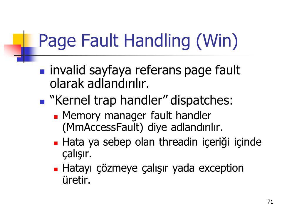 """71 Page Fault Handling (Win) invalid sayfaya referans page fault olarak adlandırılır. """"Kernel trap handler"""" dispatches: Memory manager fault handler ("""