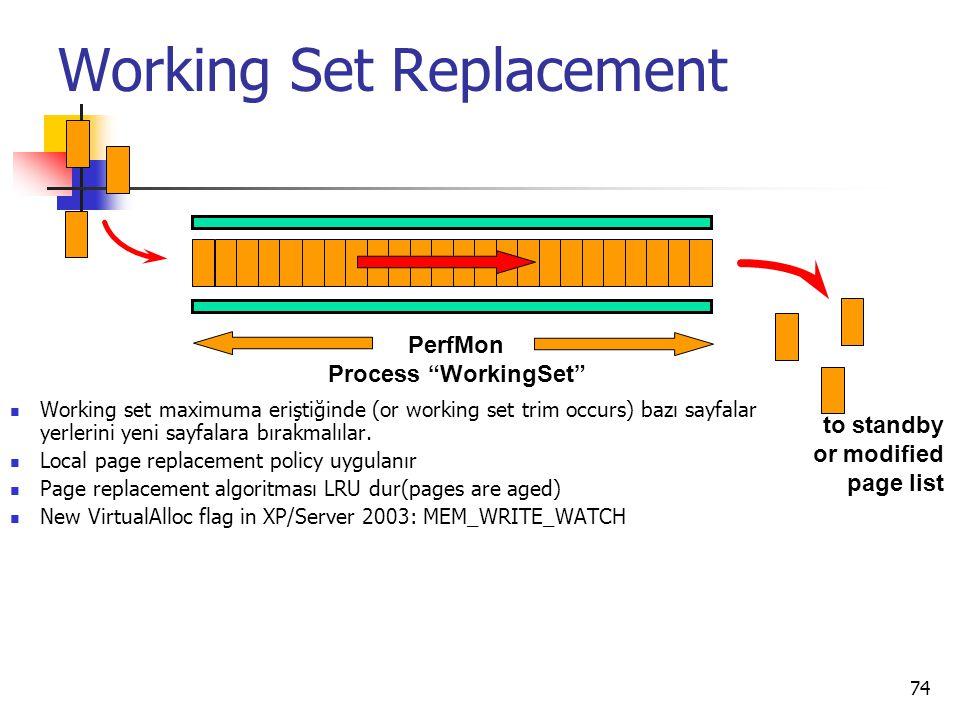 74 Working Set Replacement Working set maximuma eriştiğinde (or working set trim occurs) bazı sayfalar yerlerini yeni sayfalara bırakmalılar. Local pa