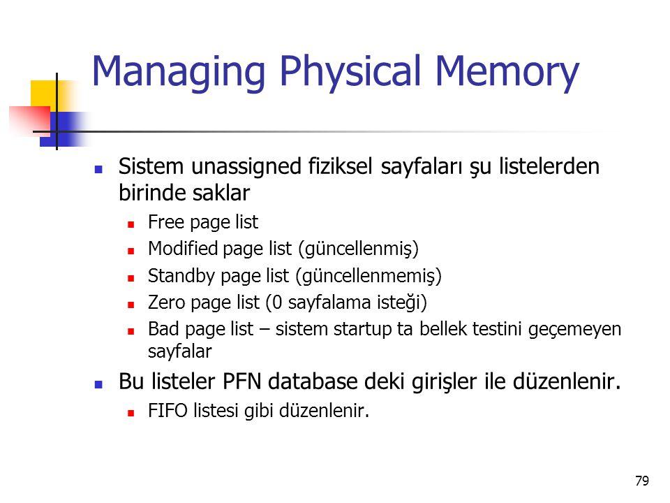 79 Managing Physical Memory Sistem unassigned fiziksel sayfaları şu listelerden birinde saklar Free page list Modified page list (güncellenmiş) Standb